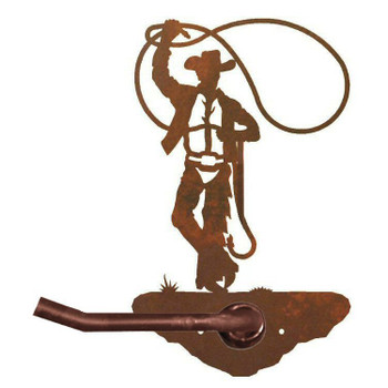 Cowboy Roping Metal Toilet Paper Holder