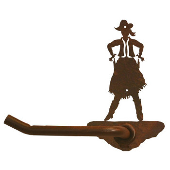 Cowgirl Drawing Pistol Metal Toilet Paper Holder
