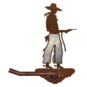 Burnished Cowboy with Pistol Metal Toilet Paper Holder