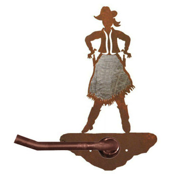 Burnished Cowgirl Metal Toilet Paper Holder