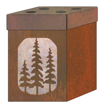 Pine Trees Metal Toothbrush Holder