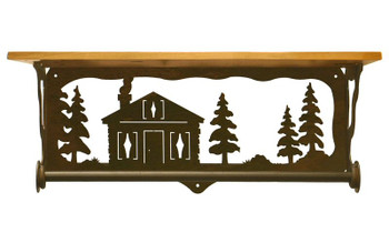 """20"""" Cabin in the Pines Metal Towel Bar with Pine Wood Top Wall Shelf"""