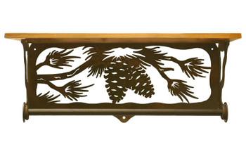 "20"" Pine Cone Branch Metal Towel Bar with Alder Wood Top Wall Shelf"