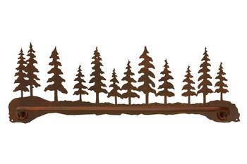 "27"" Pine Forest Scene Metal Towel Bar"