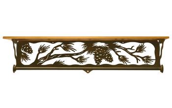 "34"" Pine Cone Branch Metal Towel Bar with Alder Wood Top Wall Shelf"