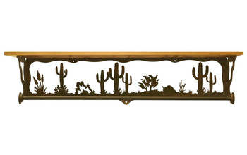"34"" Desert Scene Metal Towel Bar with Pine Wood Top Wall Shelf"