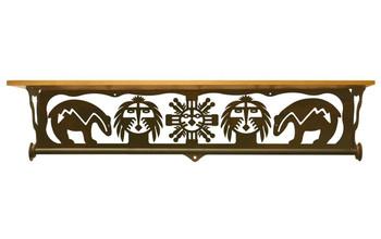 "34"" Fetish Bear Metal Towel Bar with Pine Wood Top Wall Shelf"