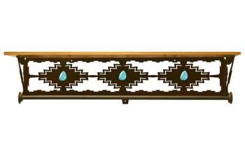 "34"" Desert Diamond Turquoise Metal Towel Bar with Pine Wood Top Shelf"