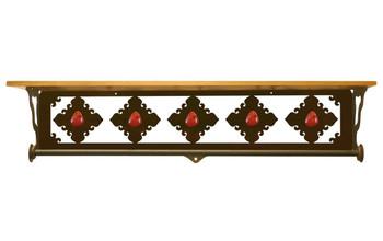 "34"" Red Jasper Stone Metal Towel Bar with Pine Wood Top Wall Shelf"