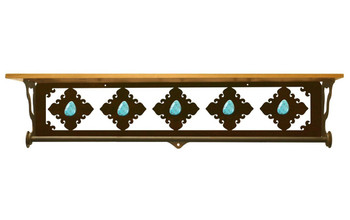 """34"""" Turquoise Stone Metal Towel Bar with Alder Wood Top Wall Shelf"""