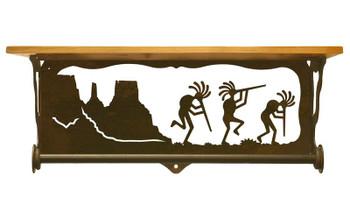 "20"" Dancing Kokopellis Metal Towel Bar with Alder Wood Top Wall Shelf"
