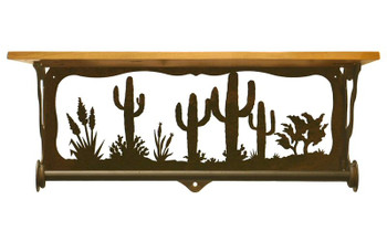 "20"" Desert Scene Metal Towel Bar with Alder Wood Top Wall Shelf"