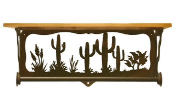 "20"" Desert Scene Metal Towel Bar with Pine Wood Top Wall Shelf"