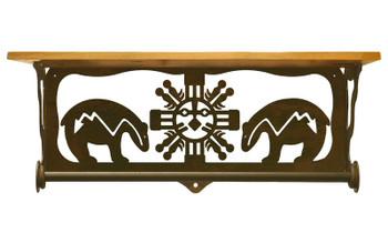"20"" Fetish Bear Metal Towel Bar with Pine Wood Top Wall Shelf"