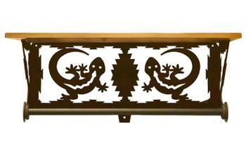 "20"" Gecko Lizard Scene Metal Towel Bar with Pine Wood Top Wall Shelf"