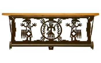 "20"" Yei Southwest Scene Metal Towel Bar with Alder Wood Top Wall Shelf"