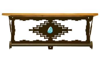 "20"" Desert Diamond Turquoise Metal Towel Bar with Alder Wood Top Shelf"