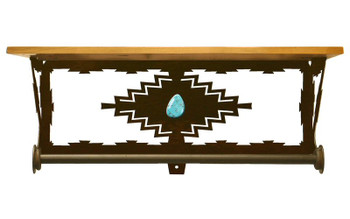 "20"" Desert Diamond Turquoise Metal Towel Bar with Pine Wood Top Shelf"