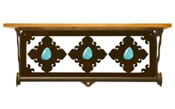 "20"" Turquoise Stone Metal Towel Bar with Pine Wood Top Wall Shelf"