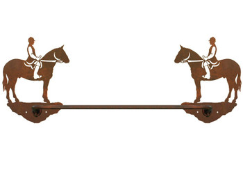 "18"" English Horse Rider Metal Towel Bar"