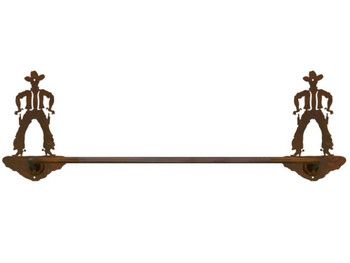 "27"" Cowboy Drawing Pistol Metal Towel Bar"