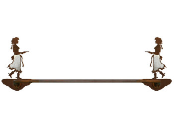 "27"" Burnished Cowgirl with Pistol Metal Towel Bar"