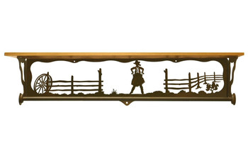 "34"" Cowgirl Scene Metal Towel Bar with Alder Wood Top Wall Shelf"