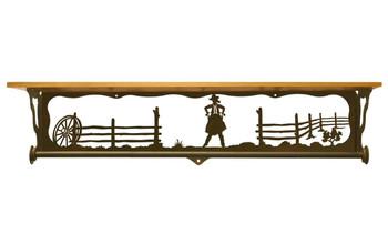 "34"" Cowgirl Scene Metal Towel Bar with Pine Wood Top Wall Shelf"