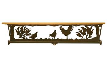 """34"""" Rooster Family Scene Metal Towel Bar w/ Alder Wood Top Wall Shelf"""