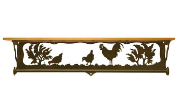 "34"" Rooster Family Scene Metal Towel Bar with Pine Wood Top Wall Shelf"