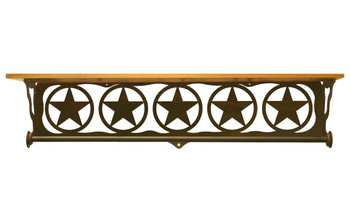 "34"" Texas Star Scene Metal Towel Bar with Alder Wood Top Wall Shelf"