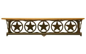 "34"" Texas Star Scene Metal Towel Bar with Pine Wood Top Wall Shelf"