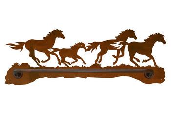 "18"" Running Wild Horses Metal Towel Bar"