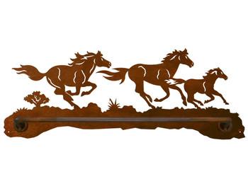 "18"" Running Wild Horses Scenic Metal Towel Bar"
