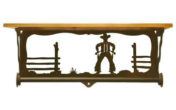 "20"" Cowboy Scene Metal Towel Bar with Pine Wood Top Wall Shelf"