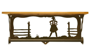 "20"" Cowgirl Scene Metal Towel Bar with Pine Wood Top Wall Shelf"