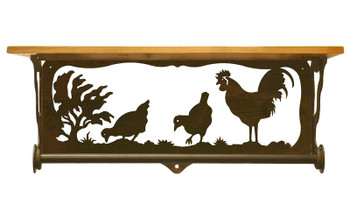 "20"" Rooster Family Scene Metal Towel Bar with Pine Wood Top Wall Shelf"