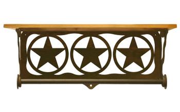 "20"" Texas Star Scene Metal Towel Bar with Pine Wood Top Wall Shelf"
