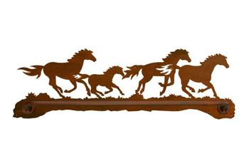 "27"" Running Wild Horses Metal Towel Bar"