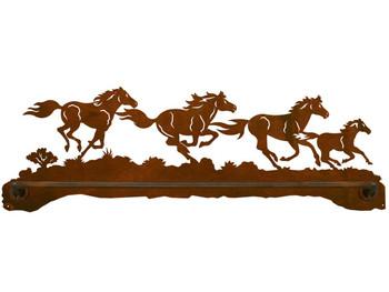 "27"" Running Wild Horses Scenic Metal Towel Bar"
