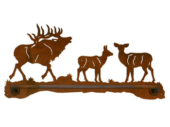"18"" Elk Family Scenic Metal Towel Bar"