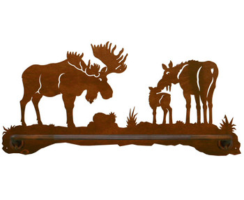 "18"" Moose Family Scenic Metal Towel Bar"