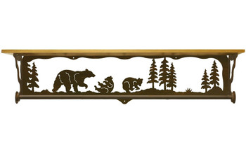 "34"" Bear Family Scene Metal Towel Bar with Pine Wood Top Wall Shelf"