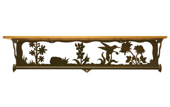 "34"" Hummingbird Scene Metal Towel Bar with Pine Wood Top Wall Shelf"