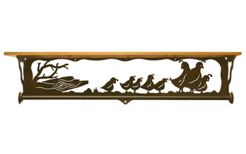 "34"" Quail Family Scene Metal Towel Bar with Alder Wood Top Wall Shelf"