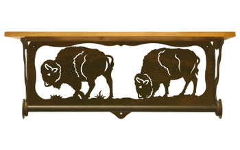 "20"" Buffalo Family Scene Metal Towel Bar w/ Alder Wood Top Wall Shelf"