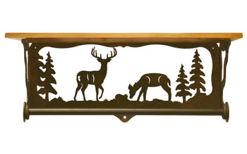 "20"" Deer Family Scene Metal Towel Bar with Pine Wood Top Wall Shelf"