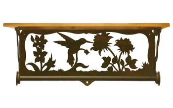 "20"" Hummingbird Scene Metal Towel Bar with Alder Wood Top Wall Shelf"