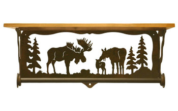 "20"" Moose Family Scene Metal Towel Bar with Pine Wood Top Wall Shelf"