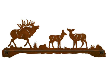 "27"" Elk Family Scenic Metal Towel Bar"